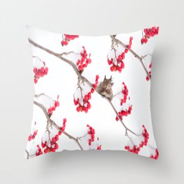 Cute Squirrel With Red Rowan Berries On A White Background #decor #society6 #buyart Throw Pillow