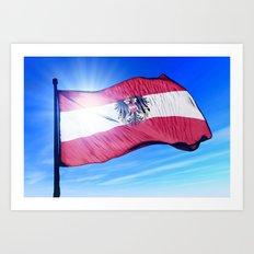 Austria flag waving on the wind Art Print