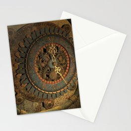 Steampunk, awesome clock, rusty metal Stationery Cards