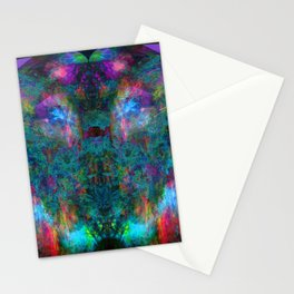 Butterfly Block Face (Cyan) (abstract, psychedelic, visionary) Stationery Cards