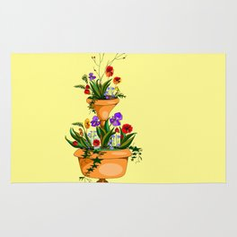 A Terra Cotta Planter with Many Flowers Rug