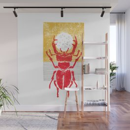 Red stag facing a golden sky Wall Mural