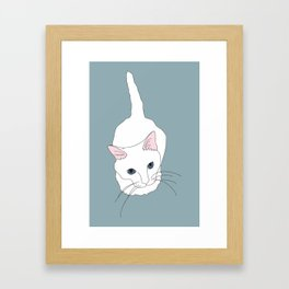 Kitty cat Illustrated Print White Pink Blue Framed Art Print