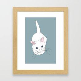 Kitty cat Illustrated Print White Pink Blue Framed Art Print