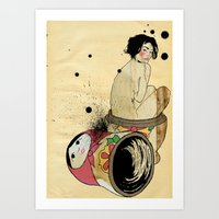 russian Art Prints featuring Russian Doll by ODDITY