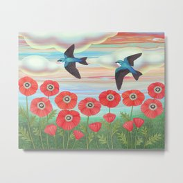 tree swallows and poppies Metal Print