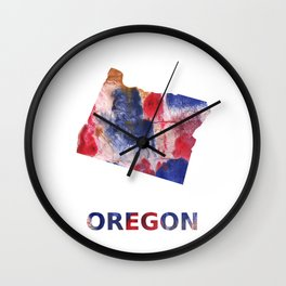 Oregon map outline Red blue brown watercolor painting Wall Clock