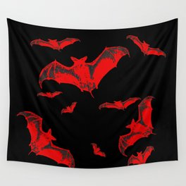 Black & Red Flying Bats Halloween Wall Tapestry