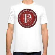 Joshua 24:15 - (Silver on Red) Monogram P White Mens Fitted Tee MEDIUM
