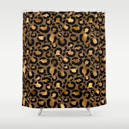 Leopard Metal Glamour Skin Shower Curtain