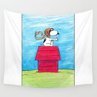 pilot Wall Tapestries featuring pilot Snoopy by DROIDMONKEY