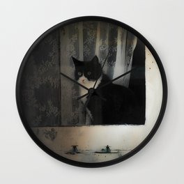 One Cat in the window Wall Clock
