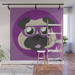 Purple Pug Wall Mural