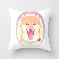 shiba inu Throw Pillows featuring Shiba Inu by daftmue