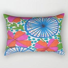 Flowers and Pinwheels Jungle Print Rectangular Pillow