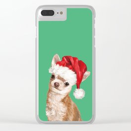 Christmas Chihuahua in Green Clear iPhone Case