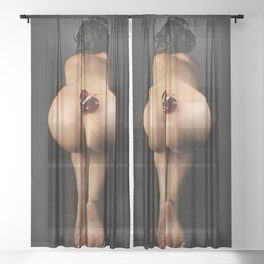 4047-TW Submissive Nude Woman Kneeling Naked With Red Glass Heart Ashtray On Her Butt Sheer Curtain