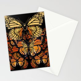 CREAM & RUST COLOR MONARCH BUTTERFLIES BLACK PATTERN ART Stationery Cards