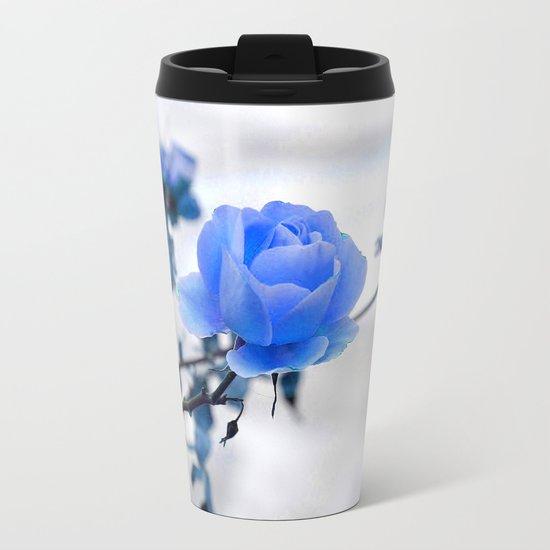 Blue Rose Simplicity Metal Travel Mug