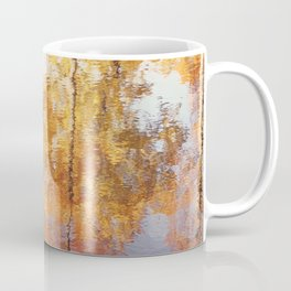 Autumn Trees Reflection Photography, Fall Tree Nature Orange Gold Yellow Purple, Water Reflections Coffee Mug