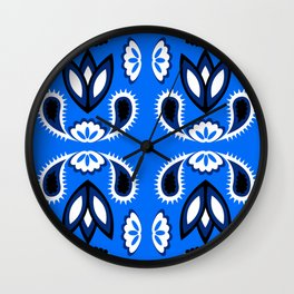 pattern with leaves and flowers paisley style Wall Clock