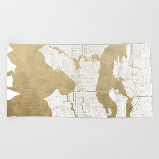 Seattle White and Gold Map Beach Towel