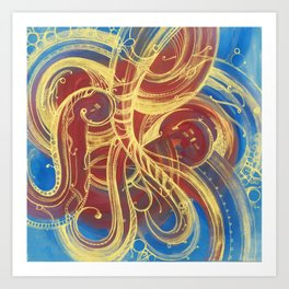 GOLDEN SWIRLING - CURLY GOLDEN LINES ON RED AND BLUE Art Print