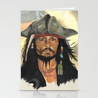 jack sparrow Stationery Cards featuring Captain Jack Sparrow by marysiak