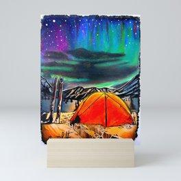 'Front Row Seat' Northern Lights - Ski Camping - Original Skiing Drawing Mini Art Print