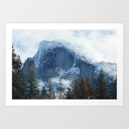 Ice-capped Half Dome at Sunrise | Yosemite National Park, California Art Print