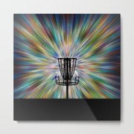Disc Golf Basket Silhouette Metal Print
