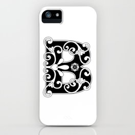 Initial Letter B Scroll Art iPhone Case