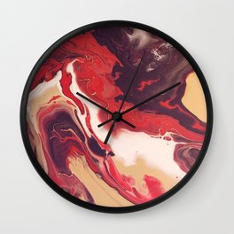 Acrylic pour abstract Red and mahogany Wall Clock