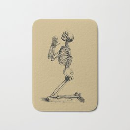 Antique Vintage Praying Skeleton Anatomical Drawing Bath Mat