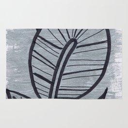 Black Leaves on Silvery Grey Rug