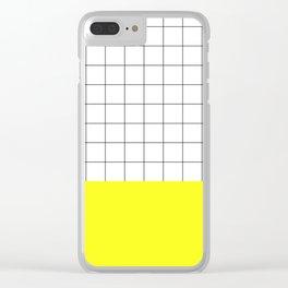 Scandi Grid Sq Y Clear iPhone Case