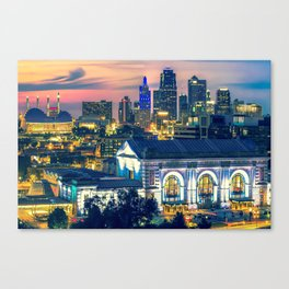 Kansas City Skyline Architecture at Dusk Canvas Print