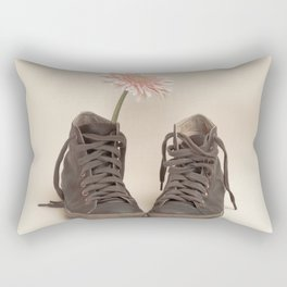 Brown Converse Boots and Pink Flower (Retro Still Life Photography)  Rectangular Pillow