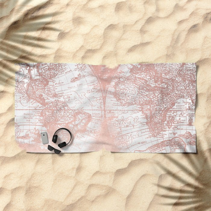 Rose Gold Pink Antique World Map by Nature Magick Beach Towel