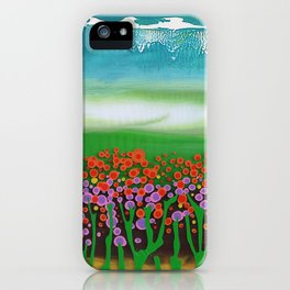 The meadow - A landscape in the background a blue sky and wildflowers iPhone Case
