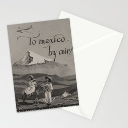 vintage Plakat To Mexico by Air voyage poster Stationery Cards
