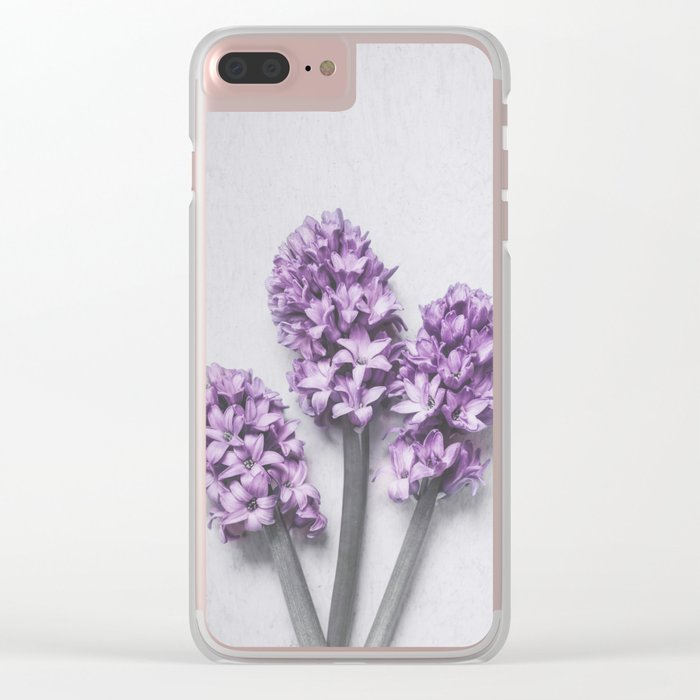 Three Light Purple Hyacinths Clear iPhone Case