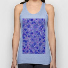 Hand painted navy blue pink watercolor floral pattern Unisex Tank Top