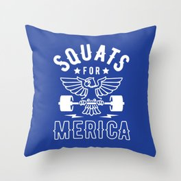 Squats For Merica Throw Pillow