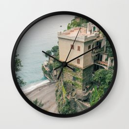 Cliff house // Italy Wall Clock