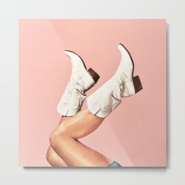 These Boots - Pink Metal Print