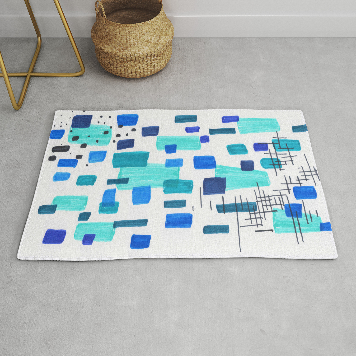 Minimalist Abstract Juvenile Colorful Aqua Blue Shapes Pattern Mid Century Modern Rug By Enshape