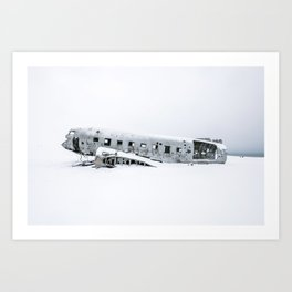 Plane Wreck in Iceland in Winter - Landscape Photography Minimalism Art Print