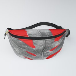 Green Fern on Red Inverted Fanny Pack