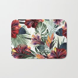 Beautiful tropical pattern with green palm leaves and hibiscus flowers Bath Mat